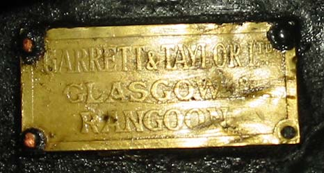 Garrett and Taylor Ltd. Glasgow and Rangoon on a steam engine