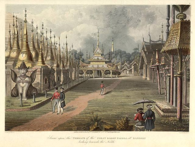 Scene Upon the Entrance of the Great Dagon Pagoda at Rangoon, 1824-6