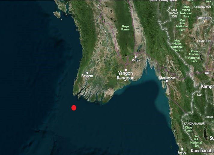 Location of Alguada Reef off of Cape Negrais
